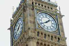 Big Ben clock tower. Closeup of Big Ben clock tower, Palace of Westminster, London, England stock photography