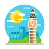 Big Ben clock tower flat design landmark Stock Image