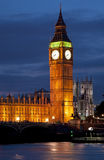 Big Ben clock tower and house of parliament in london at night Stock Image