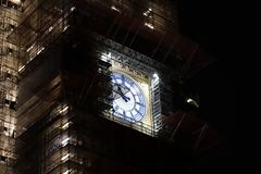 Big Ben Clock Tower Illuminated at Night under Scaffolding stock photos