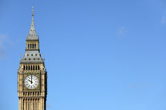 Big Ben clock tower, London,  against a deep blue sky, copy space Royalty Free Stock Photos