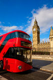 Big Ben Clock Tower with London Bus Stock Images