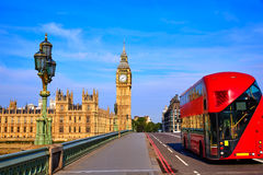 Big Ben Clock Tower and London Bus Royalty Free Stock Image