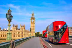 Big Ben Clock Tower and London Bus Royalty Free Stock Photo