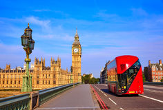 Big Ben Clock Tower and London Bus Stock Images