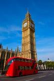 Big Ben Clock Tower and London Bus Stock Image
