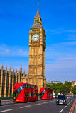 Big Ben Clock Tower and London Bus Royalty Free Stock Images