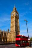 Big Ben Clock Tower and London Bus Stock Photo