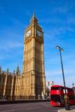 Big Ben Clock Tower and London Bus Royalty Free Stock Photos