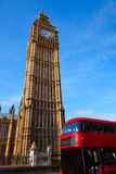 Big Ben Clock Tower and London Bus Stock Photos