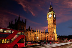 Big Ben Clock Tower with London Bus Royalty Free Stock Photo