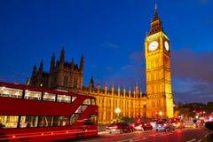 Big Ben Clock Tower with London Bus Stock Photo