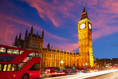 Big Ben Clock Tower with London Bus Royalty Free Stock Image