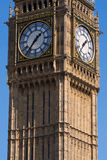 Big Ben Clock Tower London. Detail of clock faces on upper part of Big Ben Elizabeth Tower in London England Royalty Free Stock Images