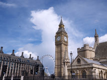Big Ben clock tower and London Eye Stock Images