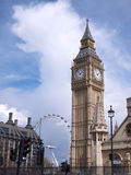 Big Ben clock tower and London Eye Royalty Free Stock Photo