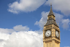Big Ben clock tower London, Houses of Parliament, isolated against a cloudy summer sky Royalty Free Stock Photos