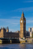 Big Ben, clock tower, in London. In the morning light with deep blue sky Royalty Free Stock Images