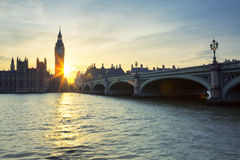 Big Ben clock tower in London at sunset Royalty Free Stock Photos