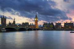 Big Ben clock tower in London at sunset Stock Photography