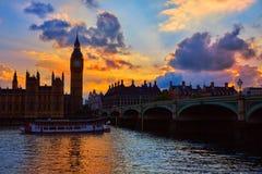 Big Ben Clock Tower London at Thames River Royalty Free Stock Photos