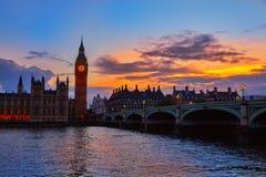 Big Ben Clock Tower London at Thames River Stock Images