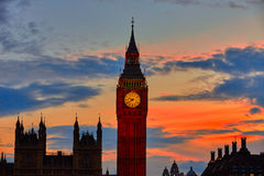 Big Ben Clock Tower London at Thames River Stock Image
