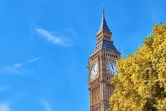 Big Ben Clock Tower in London, UK, on a bright day in Autumn. Text space on blue sky background Royalty Free Stock Photography