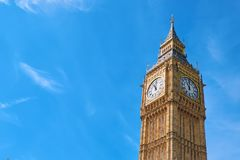 Big Ben Clock Tower in London, UK, on a bright day. Text space on blue sky background Stock Photo