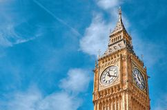Big Ben Clock Tower in London, UK, on a bright day. Text space on blue sky background Royalty Free Stock Photo