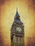 Big Ben clock tower with old paper background Royalty Free Stock Images