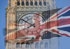 Big Ben, Clock Tower, Parliament House and British Flag merged in a double exposure shot of flag and historic London Building Stock Photos