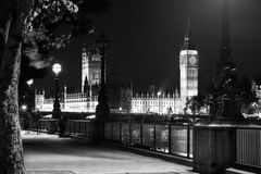 Big Ben Clock Tower and Parliament house. At city of westminster black and white Royalty Free Stock Photo