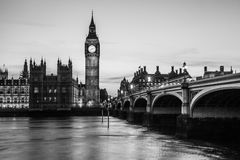 Big Ben Clock Tower and Parliament house. At city of westminster black and white Stock Photo