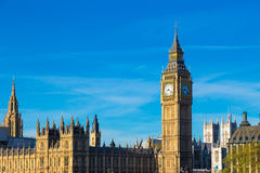 Big Ben, clock tower at the parliament, London, England Royalty Free Stock Photo