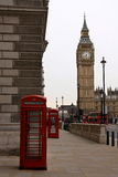Big Ben Clock Tower and red phone boxes. Big Ben Clock Tower and two red telephone boxes - icons of London, England Stock Photo