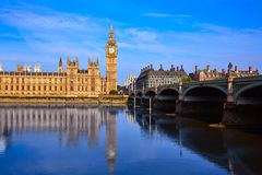 Big Ben Clock Tower and thames river London Stock Photography