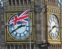Big Ben Clock Tower and the Union Jack Stock Photo