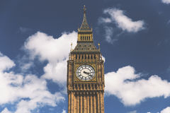 Big Ben clock tower in Westminster, London on summer day with bl Stock Photo