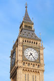 Big ben close up in London, blue sky Stock Images