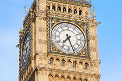 Big ben close up in London, blue sky Stock Photography
