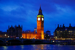 Big Ben during a cloudy night Stock Photography