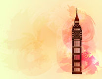 Big ben on colorful background. London sight. Vector illustration Royalty Free Stock Image