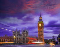 Big Ben during colorful evening in London, England, UK Stock Image