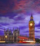 Big Ben during colorful evening in London, England, UK Stock Photos
