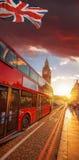 Big Ben during colorful sunset in London, England, UK Stock Photos