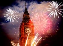 Big Ben con i fuochi d'artificio Notte di San Silvestro Fotografia Stock