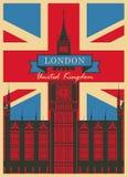 Big Ben contre le drapeau britannique Image stock