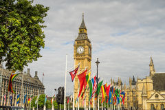 Big Ben with country flags Stock Photos