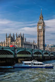 Big Ben with cruise ship in London, England, UK Royalty Free Stock Photo